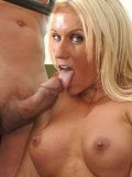 Busty blonde-haired fitness blonde Ashlee Chambers gets banged on blue exercise ball