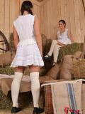 Barn babes Athina DDF and fetish newcomer Betty Gordon getting naked and licking up each other.