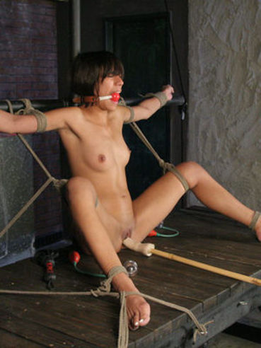 Master makes helpless slave girl Courtney Page enjoy vibrator, sybian and dildo