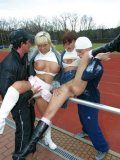 Two clothed german whores Josy La Vine and Sharon Da Vale get shagged outdoors in public places
