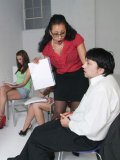 Nude poser gets his dick explored by Donna Ambrose and other girls in the class