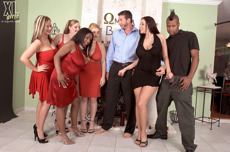 BBW April McKenzie in red dress gets her humongous tits