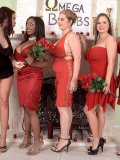 BBW April McKenzie in red dress gets her humongous tits out in front of a guy and the ladies