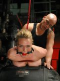 Helpless tied big titty slave blonde Krissy Lynn with ball gag in her mouth gets her pussy hammered