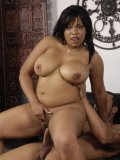 Massive titted ebony plumper Kandi Kream in high heel shoes strips and gets nailed