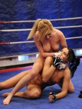 Lucy Belle and Donna Bell strip nude in the ring and turn fight into lesbian action