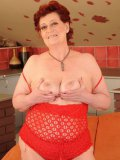 Fat mature woman in red Hetty bares all and gets her loose pussy pounded