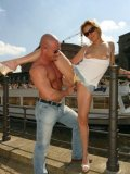Pierced Sunny G and cute girl Cindy get their holes fingered in public.