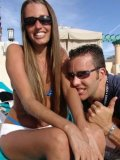 Lori Anderson gets her hairy arms licked by her boyfriend Brett by the pool