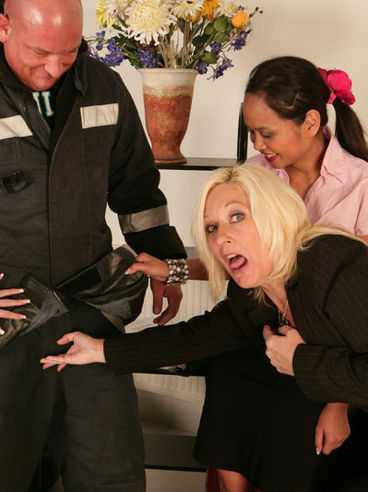 Big man gets his tiny dick rubbed by Sally Taylor and her giggling friends