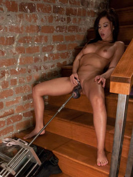 Fascinating latina Lana Lopez stimulates her clit with tiny vibrator and gets machine fucked