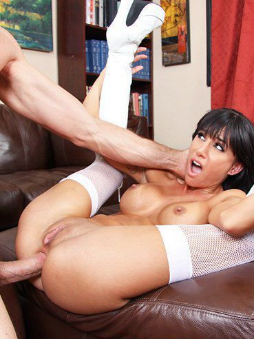 Long legged busty brunette Gia DiMarco in white stockings gets her ass destroyed