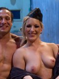 Nude man Dutch Bardoux gets spanked and tortured by sexy dressed domina Dia Zerva