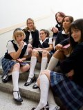 Princess Donna and a bunch of schoolgirls pegged and in kinky lesbian fetish fucking each other.