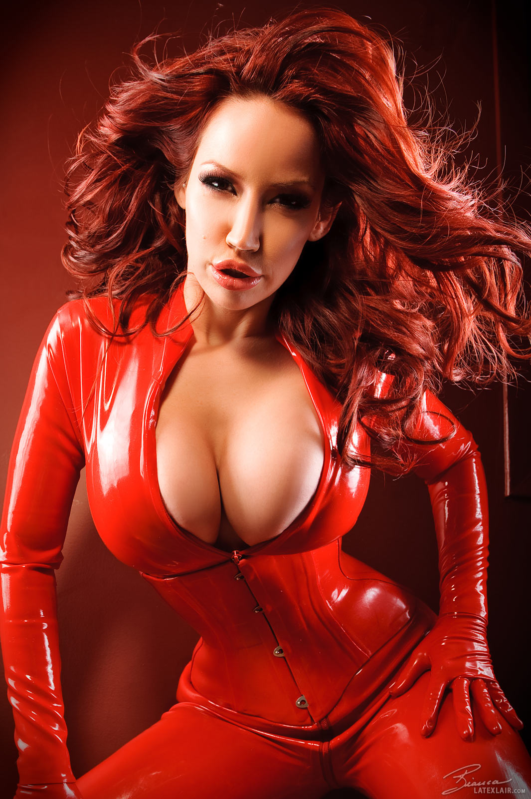 Can Sexy redhead latex girls are