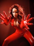 Red-haired Bianca Beauchamp in sexy red latex suit gets her breathtaking massive tits out