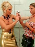 Sharka Blue in beautiful tight golden dress gets showered by cleaner Rachel Evans