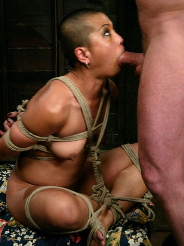 Short haired oriental slave lady Max Mikita gets hot candle wax after bondage sex with Mark Davis