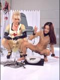 Flat chested asian Kitty Jung with pierced clit pisses in front of blonde nurse Nina Hartley
