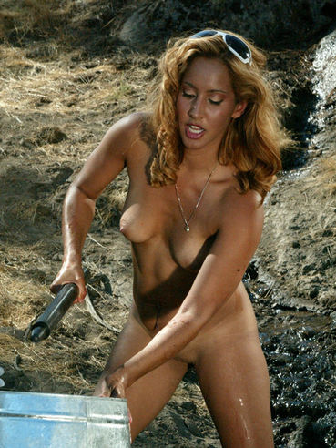 Rok gets tortured by sexy bodied nude latin domina Isis Love in the open air