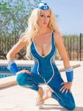 Saffron Taylor looks amazing while wearing a latex suit and posing outdoors.
