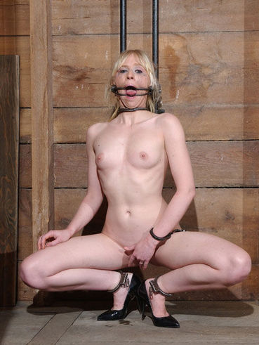 Bound slave blonde Sarah Jane Ceylon gets her helpless pink cunt dildoed after blowing her master