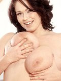 Big titted european BBW lady Lenka P strips down to her bare skin and dildo fucks her shaved cunt