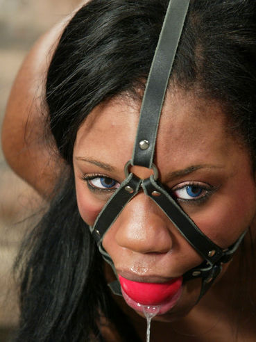 Black Sydney Capri tied tight with red ropes gets punished by white master