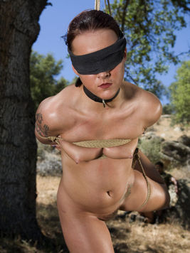 Submissive nude girls Sara Faye and Claire Dames suck master Lobo outdoors