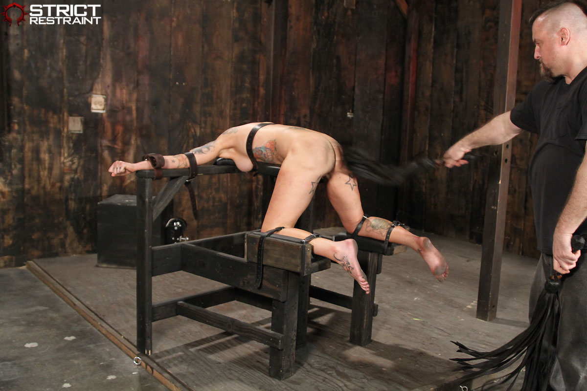 naked male slave under bench