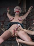 Tied blonde Cherry Torn gets her juicy jugs and pussy used by lesbian mistress Sister Dee