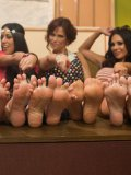 Lyla Storm, Sinn Sage, Syren de Mer and Kirsten Price in the wildest foot fetish orgy ever