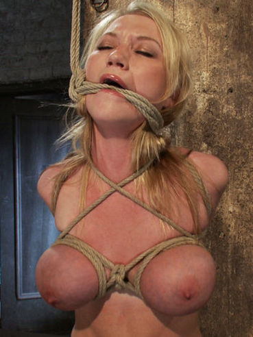 Pretty blonde Madison Scott with juicy shaved pussy and huge breasts gets rope bound