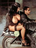 Fat big breasted biker girl Laura Orsolya gives headjob to man in black