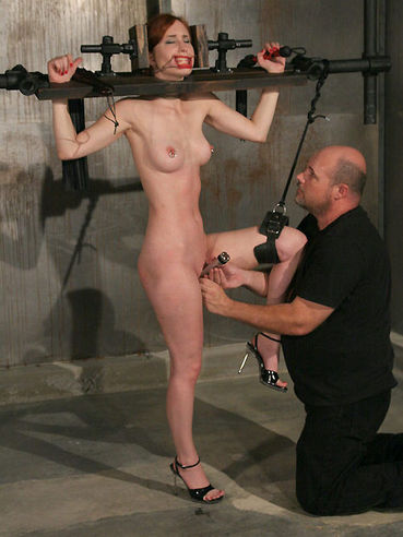 Calico Slave gets gagged and bound before master plays with her smooth pussy