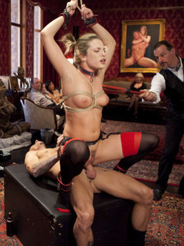 Bailey Blue gets her shaved cunt filled with cock during rough and hardcore fetish sex.