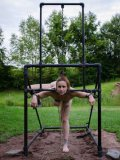Bella Rossi outdoors and getting roughly treated and kneeling in hardcore and bizarre bondage.