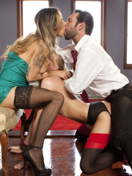 Blonde Roxy Rox getting licked up by a man and hot Nadia Styles while in rough sex.
