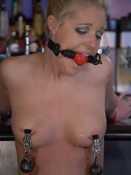 Hollie Stevens gets her nipples and pussy lips clamped by hot domina Chanta Rose