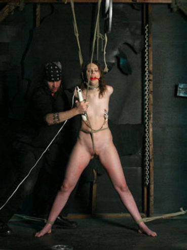 Tightly roped ballgagged small titty slave girl Kristine Kink gets her pussy stimulated