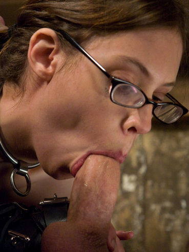 Slim glassed bondage girl Kristine Kink eats Maestro's sperm after punishment