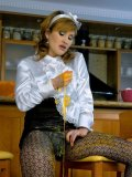 Waitress Tatiana Milovani in beautiful uniform gets covered in sticky food beside bar counter