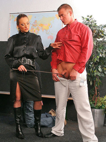 Four guys get undressed, humiliated and spanked by dominating teacher Gina Killmer