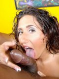 BBW brunette Vanessa Blake with big booty gets naked and eats meaty black cock