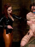 Slave girl Riley Shy rides cock of bound man for mistress Claire Adams to watch