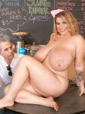 Big titted chunky waitress Renee Ross strips naked and shows her naughty bits