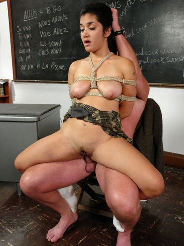 Mark Davis punishes dumb schoolgirl Leah Jaye with ropes and cock in the classroom