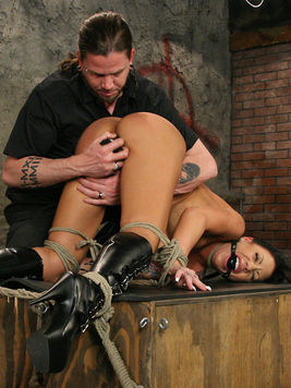 Mason Moore gets her huge tits tortured and her pussy pleased in bdsm dungeon