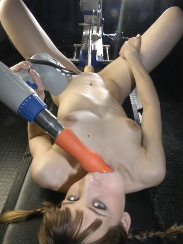 Horny Hally Thomas loves to get her mouth and pussy drilled by dildo devices