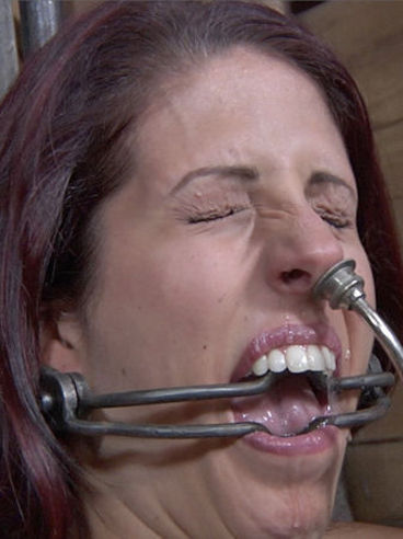 Naked big titted slave Lavender Rayne gets skull fucked then pees in a pot in front of her master